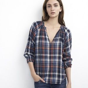 Velvet by Graham & Spencer Plaid Navy Pink Top